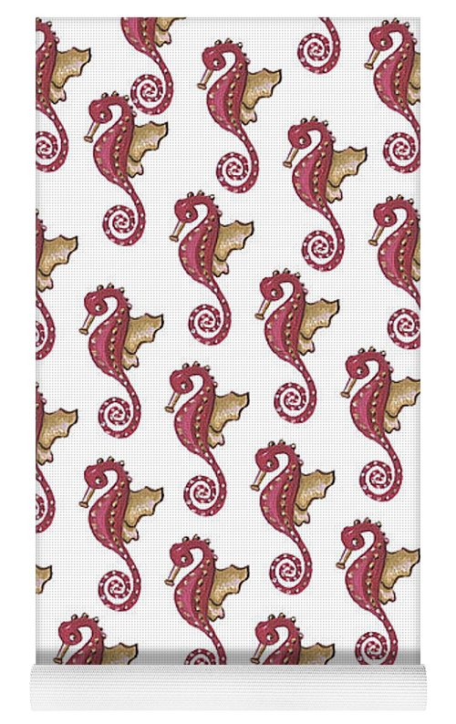 Red and White Seahorse - Yoga Mat