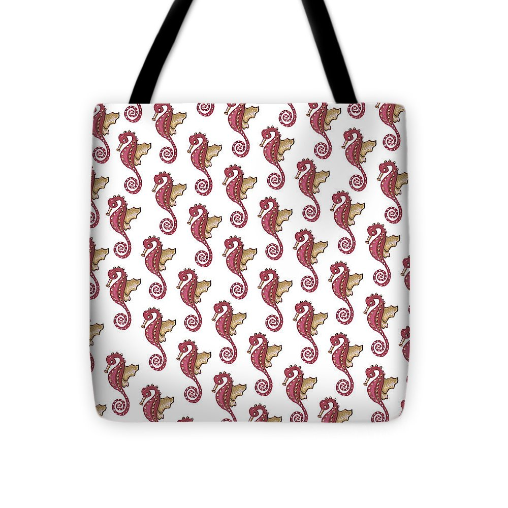 Red and White Seahorse - Tote Bag