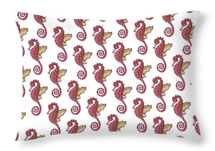 Red and White Seahorse - Throw Pillow
