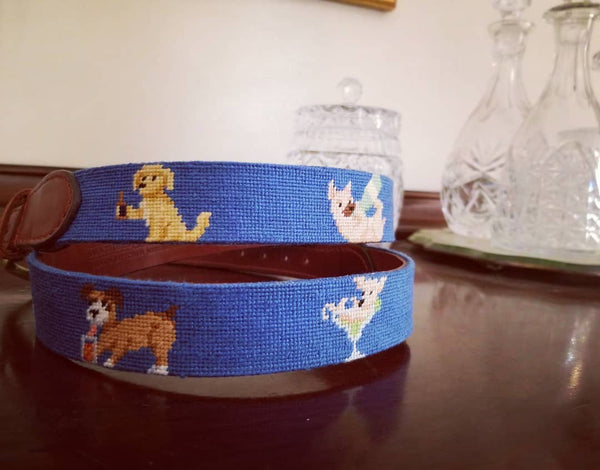 Smathers & Branson Booze Hounds Needlepoint Belt