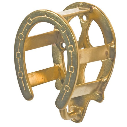 Schneiders Brass Double Horseshoe Bridle Rack