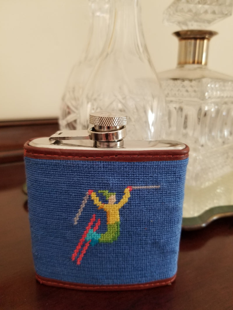 Smathers & Branson Ski Tricks Needlepoint Hip Flask