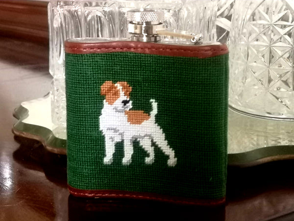 Smathers & Branson Fox & Hound Needlepoint Hip Flask
