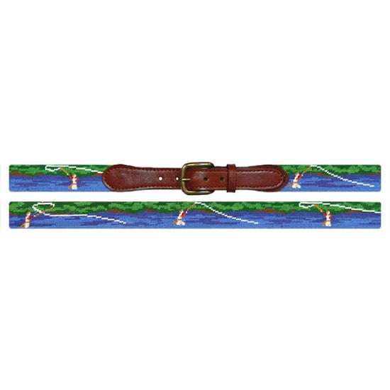 Smathers & Branson Fly Fishing Scene Needlepoint Belt