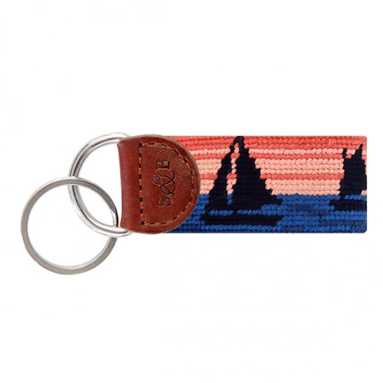 Smathers & Branson Sunset Sailing Needlepoint Key Fob
