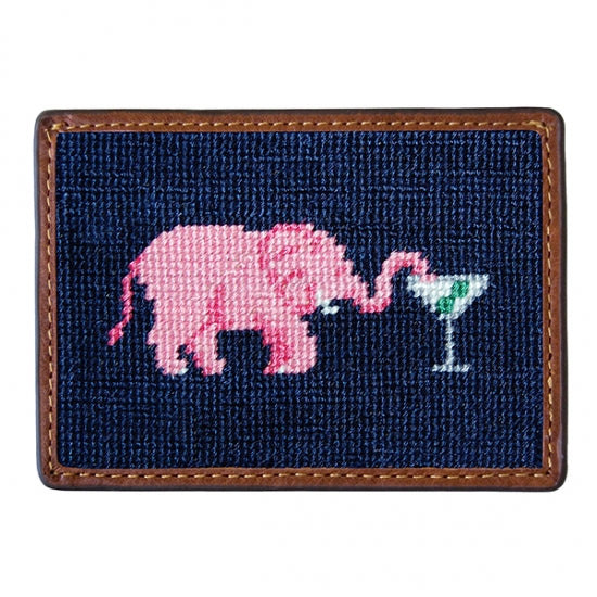 Smathers & Branson Elephant Martini Needlepoint Card Wallet