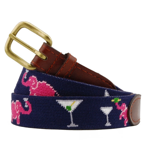 Smathers & Branson Elephant Martini Needlepoint Belt