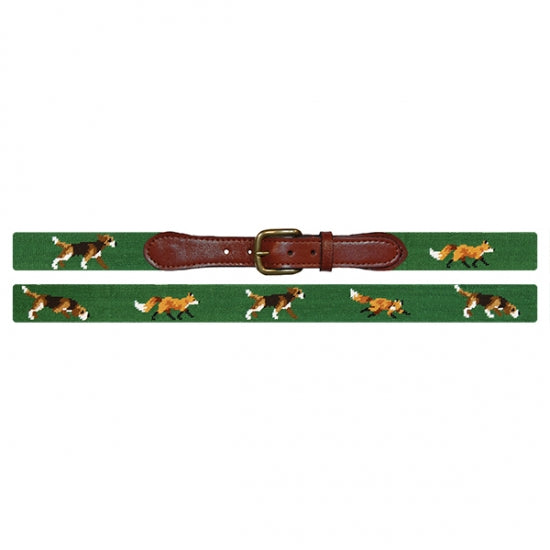 Smathers & Branson Fox and Hound Needlepoint Belt