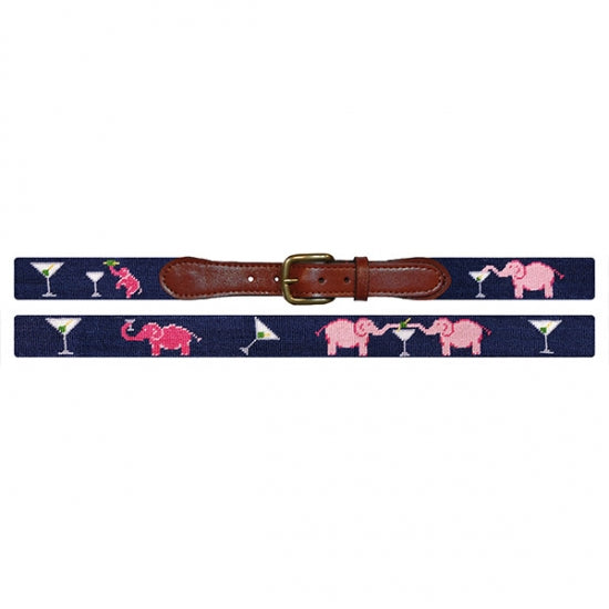 Smathers & Branson Elephant Martini Needlepoint Belt - As Featured in Country Life Magazine