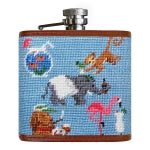 Smathers & Branson Party Animal Needlepoint Hip Flask
