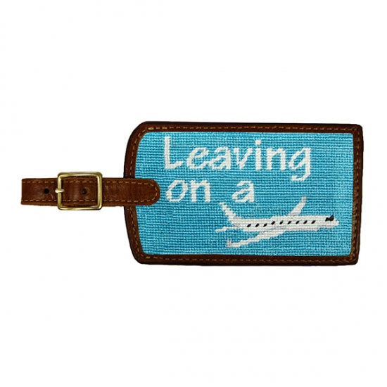 Smathers & Branson Leaving on a Plane Needlepoint Luggage Tag