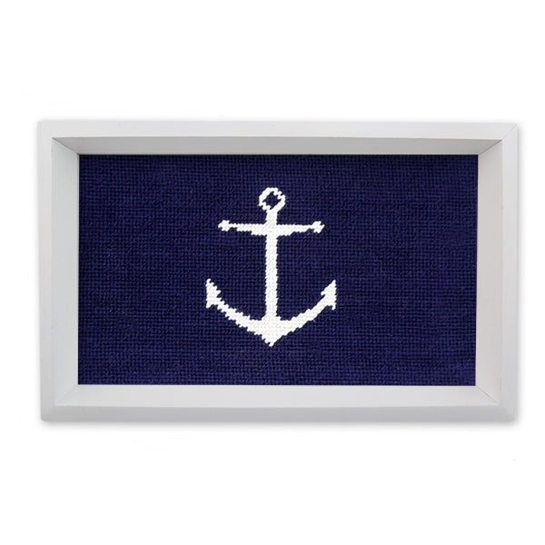 Smathers & Branson Anchor Needlepoint Valet Tray