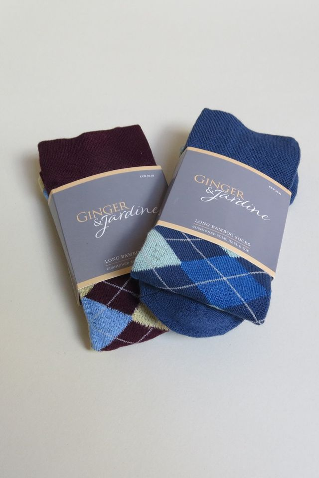 Ginger & Jardine Bamboo Argyle Pattered Socks - Ladies