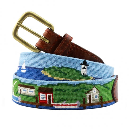 Smathers & Branson Harbour Scene Needlepoint Belt