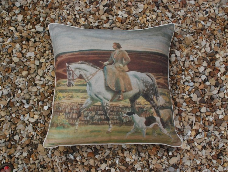 "Munnings ""Lady Munnings on a Grey"" Large Square Cushion"