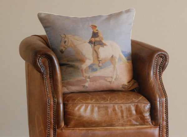 "Munnings ""Shrimp On A White Welsh Pony"" Large Square Cushion"