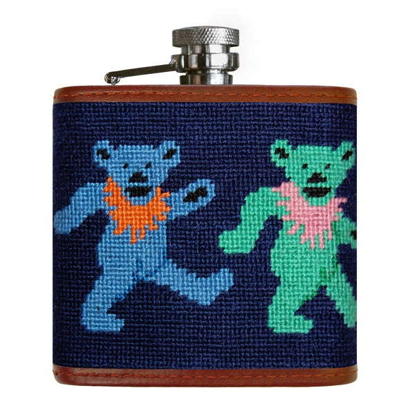 Smathers & Branson Dancing Bears Needlepoint Hip Flask