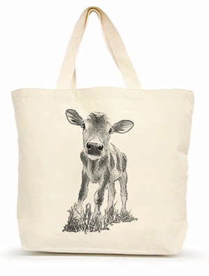 "Eric & Christopher Baby Cow ""Cowboy"" Large Shopping Tote"
