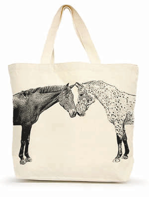 "Eric & Christopher Kissing Horses ""Albert & Dreamer"" Large Shopping Tote"