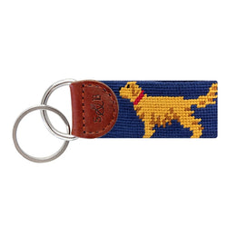 Smathers & Branson Golden Retriever (blue) Needlepoint Key Fob