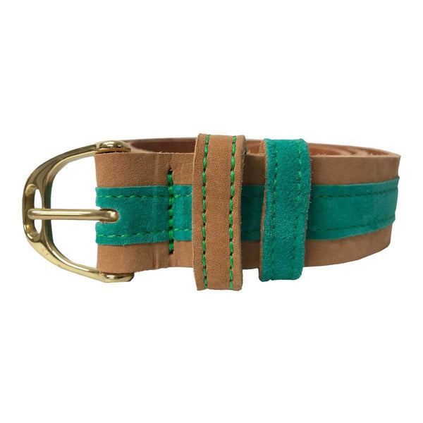 Annabel Brocks Leather Belt with Green Suede