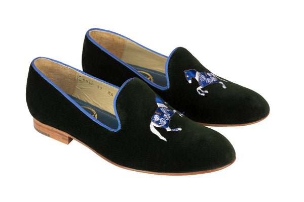 Rönner Mimosa Horse Green & Light Blue Velvet Loafer