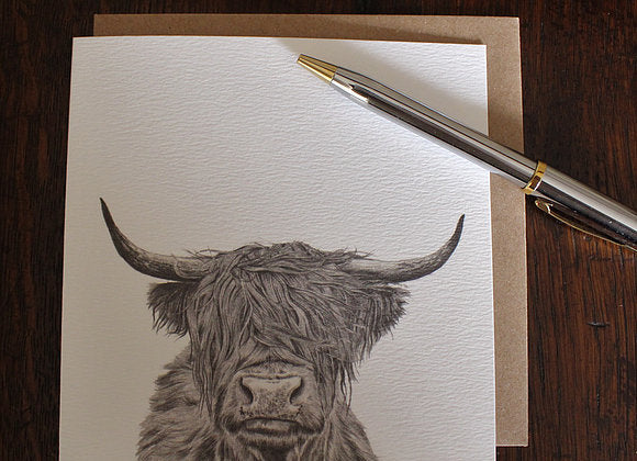 Sophie Botsford Highland Cow Drawing Greetings Card