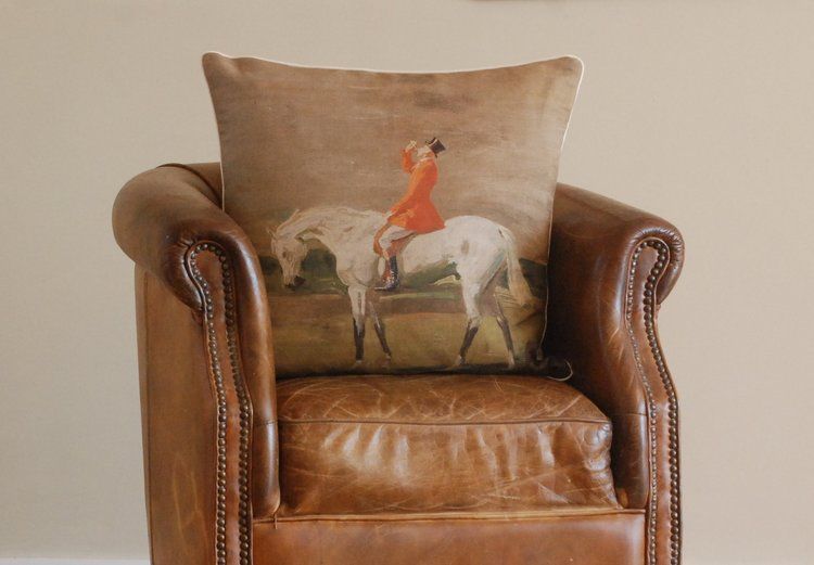 "Munnings ""Huntsman on a Grey Large"" Square Cushion"