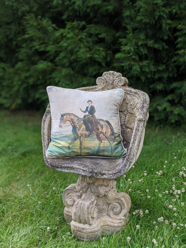 "Munnings ""Lady Munnings on a Bay Hunter"" Square Cushion"