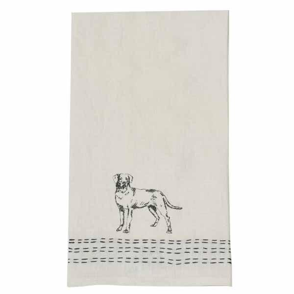 Pomegranate Hand Stitched Linen Hand Towel  – Black Lab