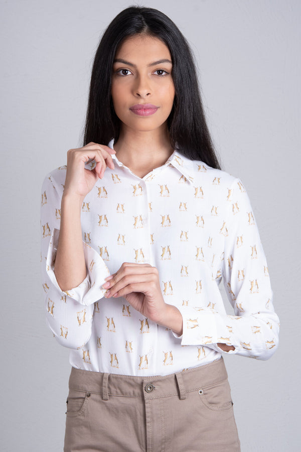 Hartwell Lydia Ladies Boxing Hares Print Shirt (PRE-ORDER, DELIVERY 7th DEC)