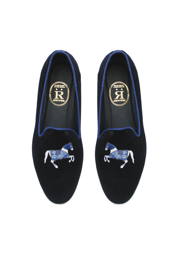Rönner Mimosa Horse Navy & Light Blue Velvet Loafer