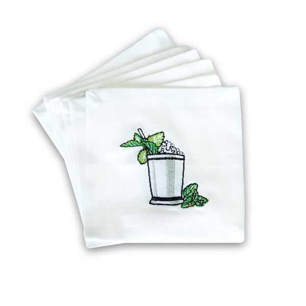 Pomegranate Mint Julep Embroidered Cocktail Napkins Set of 6