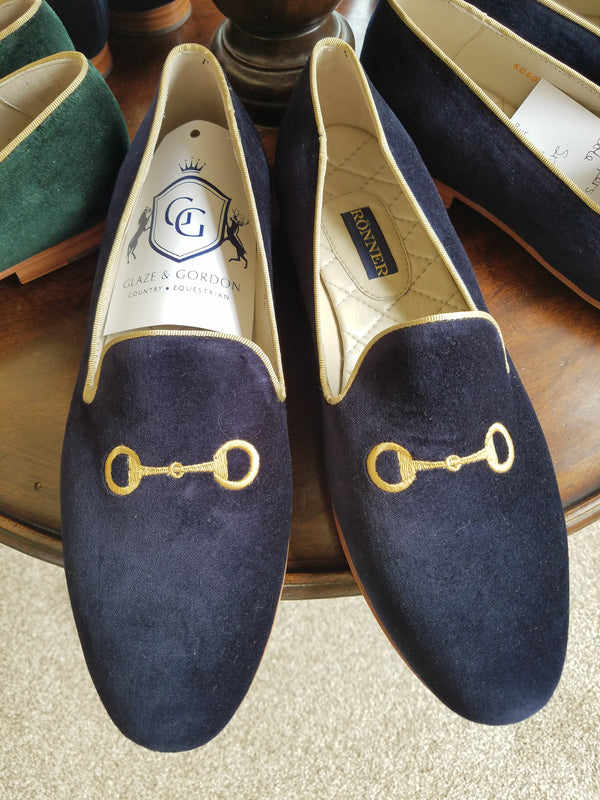 Rönner Mimosa Bit Navy & Gold Slipper