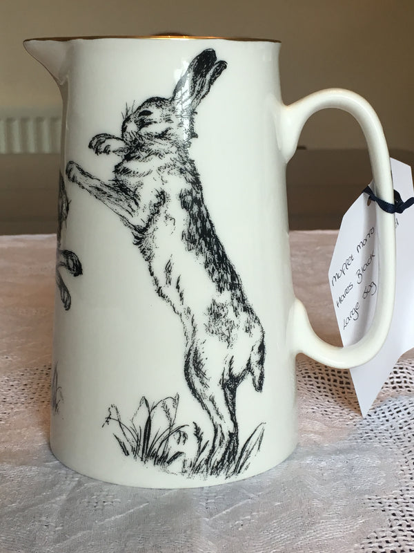 Muffet Monro Boxing Hares Large Jug - Black & Gold