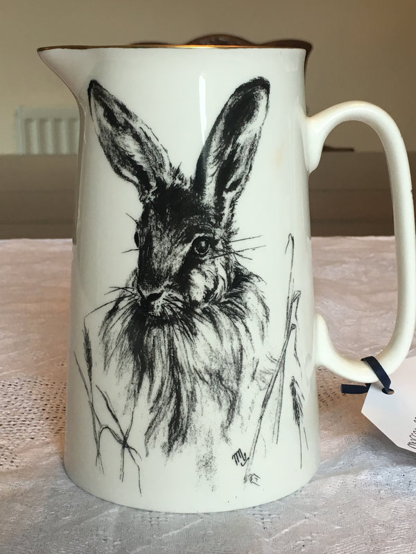 Muffet Monro Hares Head Large Jug - Black & Gold