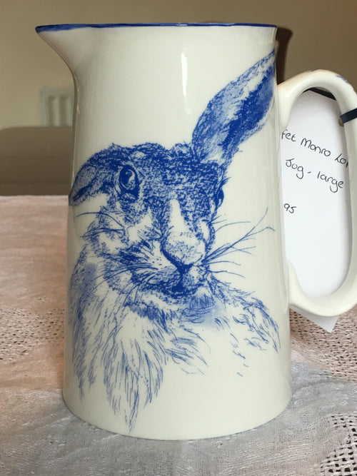 Muffet Monro Lop Ear Hare Large Jug - Blue & White