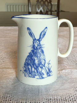 Muffet Monro Sitting Hare Small Jug - Blue & White