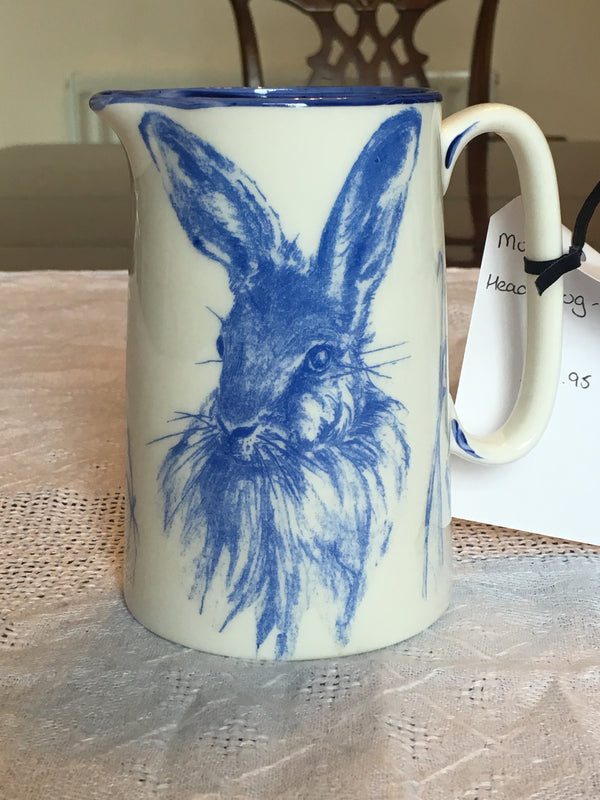 Muffet Monro Hare Head Medium Jug - Blue & White