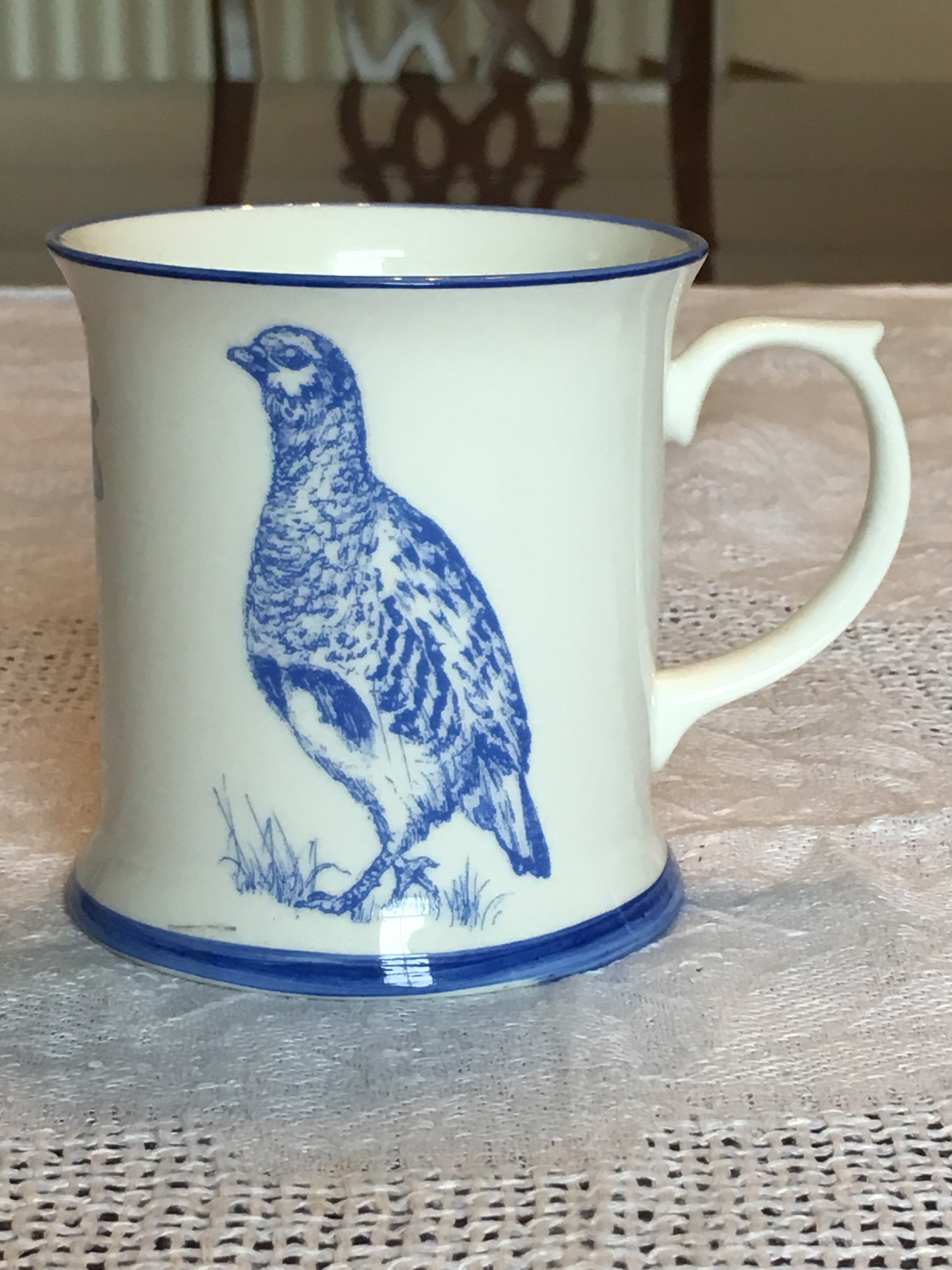 Muffet Monro Partridge & Pheasants Mug - Blue & White