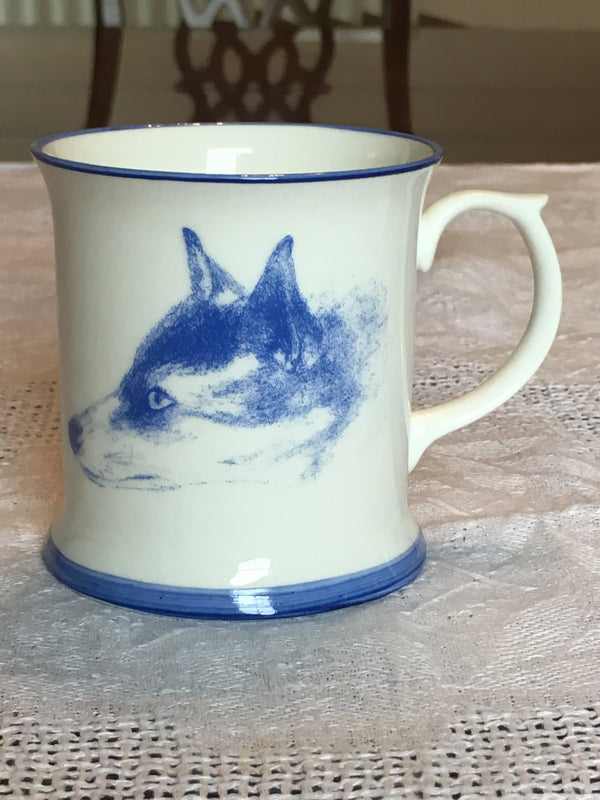 Muffet Monro Fox & Hen Mug - Blue & White