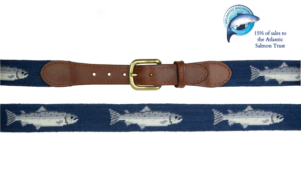 Smathers & Branson Salmon Needlepoint Belt - 15% of sales go to the Atlantic Salmon Trust
