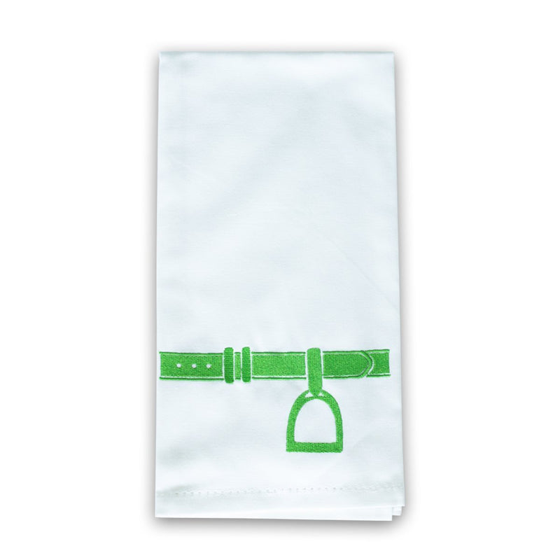 Pomegranate Embroidered Green Stirrup Tea Towel