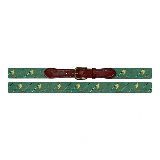 Smathers & Branson Golf Flags (Sage) Needlepoint Belt