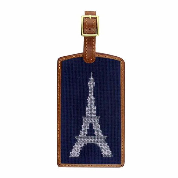Smathers & Branson Eiffel Tower Needlepoint Luggage Tag