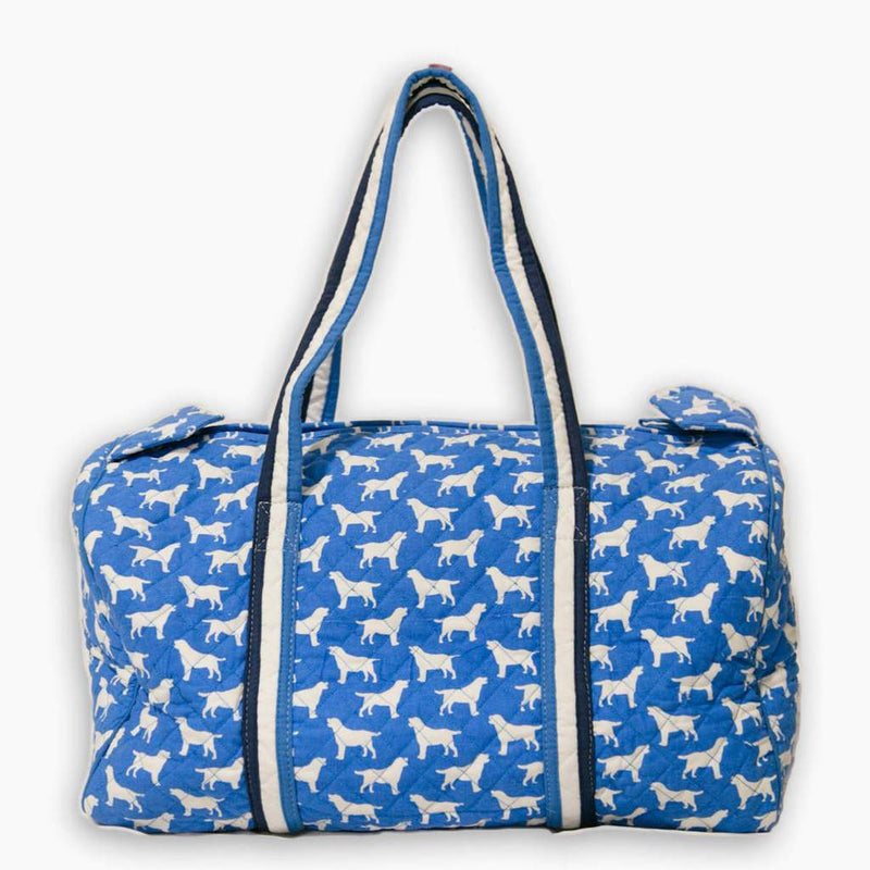 Pomegranate Blue Labrador Quilted Duffel Bag