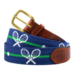 Smathers & Branson Crossed Racquets Needlepoint Belt