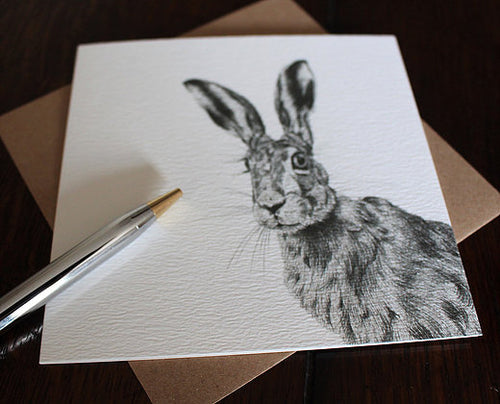 Sophie Botsford Brown Hare Drawing Greetings Card