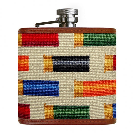 Smathers & Branson Rainbow Cartridge Needlepoint Hip Flask
