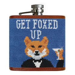 Smathers & Branson Get Foxed Up Needlepoint Hip Flask